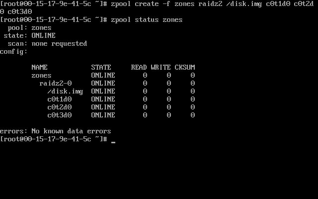 zpool create -f zones raidz2 /disk.img c0t1d0 c0t2d0 c0t3d0