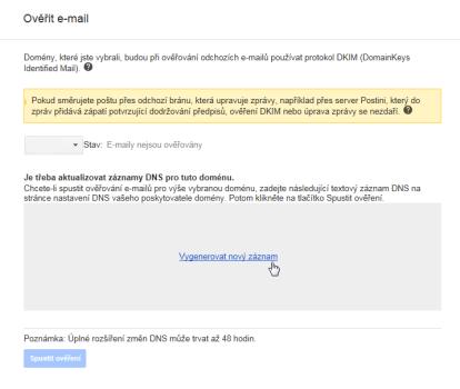 Google Apps Generovat DKIM klíč