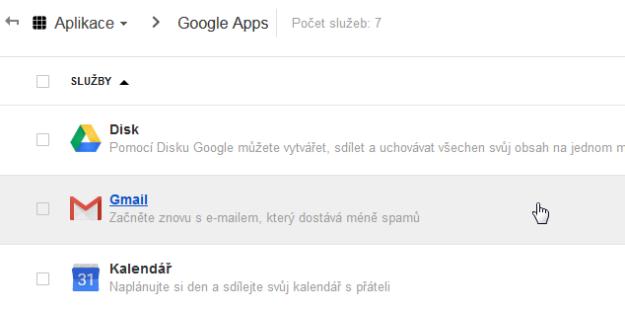Google Apps Gmail Nastavení