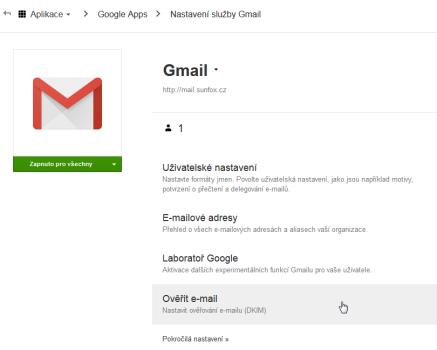 Google Apps Ověřit email